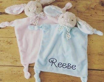 Personalized Bunny Baby Lovie, Monogrammed Baby Bunny Lovie, Pink Bunny Lovie, Baby Blue Bunny Lovie