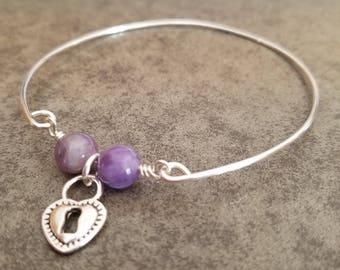 Amethyst and Heart Charm Bangle Bracelet Valentine's Day