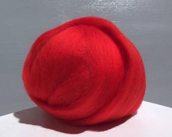 Tomato Red Merino Wool Roving, Needle Felting, Spinning Fiber, Warm Red, orange red roving, Saori weaving
