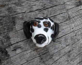 Dalmatian Artisan Lampwork Sculpted SRA Black & White Glass Dog, Glassymom