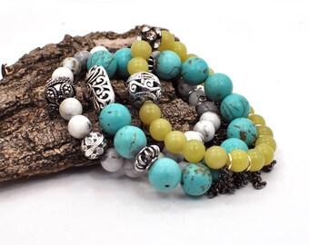 Stacking Charm Bracelet, Bracelet Set, Stackable Bracelet, Beaded Bracelet, Layering Bracelet, Gemstone Bracelet, Stretch Bracelet, For Her