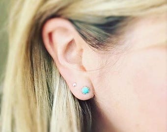 Turquoise Earrings Stud Sterling Silver Aqua Dots Dainty Lace Setting Turquoise Jewelry Minimal Style Gifts