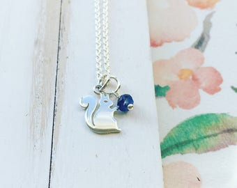 Squirrel Necklace Sterling Silver Squirell Pendant Squirel Charm Adorable Gift