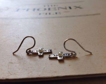 Silpada Pearl Cross Earrings, Sterling Silver Cross Earrings, Sterling Cross Earrings
