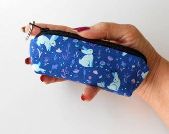 Mini Key Chain Zipper Pouch ECO Friendly Padded Lip Balm Case NEW Blue Bunnies