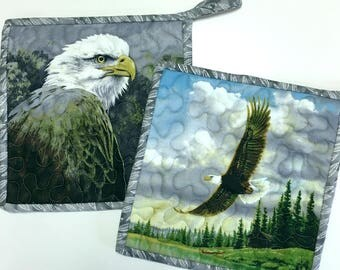 Pot Holders Eagles Hot Pads Quilted Set of Two Cabin Rustic Woodland Kitchen Cooking