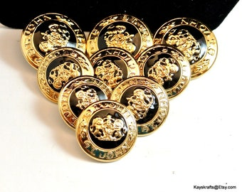 Black and Gold St John Metal Buttons Vintage Buttons Double Lion Medallion Signed Buttons Mixed Size Buttons 26MM and 22MM Buttons