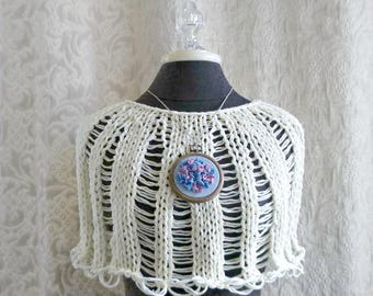 The Hydrangea Capelet in French Vanilla with One of a Kind Embroidered Brooch and Necklace