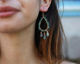 Chrysocolla and Labradorite Gold Wrapped Chandelier Earrings