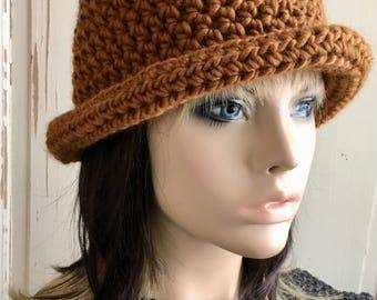 Roll Brim Hat Cinnamon Brown Crochet Hat Ladies Hat