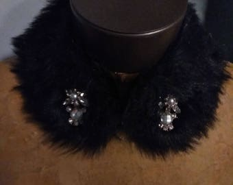 Black Faux Fur Embellished Collar