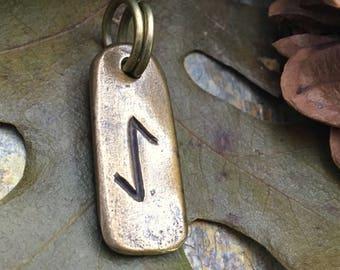 Eihwaz Rune, Bronze Rune Pendant, Viking Jewelry, Viking Runes, Men's Rune Jewelry, Rune Jewelry, Nordic Jewelry, Elder Futhark, Eihwaz