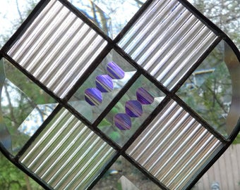 Beveled Quilt Stained Glass Suncatcher with Dichroic Accents