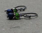 Lapis Earrings Chrome Diopside, Iolite Blue Green Oxidized Sterling Silver Petite Gemstone Stack