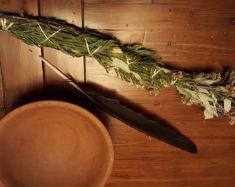 Emotional Healing - Pink Yarrow & White Sage and Cedar Smudge Stick