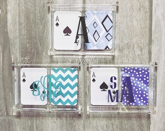 Acrylic Monogrammed Deck of Cards Storage Box - Playing Cards Storage Box- Acrylic Playing Cards Box - Personalized Playing Cards Box