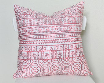 """Couch throw pillow Cover, Invisible zipper, closure, Red Twill. 18"""" square Home decor, cushion, white red aztec, baby nursery pillow, bed"""