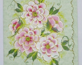 Hand Painted Card - Pink and White Flowers - No. 1212