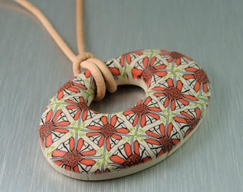 Coral and Cream Polymer Clay Pendant - Red Floral Pendant - Fimo Pendant