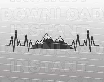 Heartbeat EKG Mountains SVG File,Hiking SVG,Camping svg,vacation svg -Commercial & Personal Use- svg for Cricut,Silhouette svg,vector art