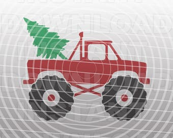 Christmas Monster Truck SVG File,Toddler Boy SVG File -Commercial & Personal Use- Vector Art for Cricut,Silhouette Cameo,Iron On vinyl Shirt