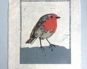 Rotkehlchen - Original Linoldruck - 15x20 cm - Testprint // Druckgrafik, Kunst, Bild mit Vogel, Print, Linolschnitt
