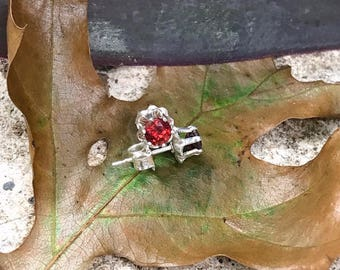 Sterling Red Garnet Buttercup Post Stud Earrings 4mm- Garnet Dream