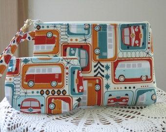 VW Retro Love Bus Smart phone Case Gadget Pouch Clutch Wristlet Zipper Gadget Pouch Bag Made in USA Set