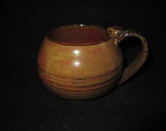 teacup in bronze and browns, stoneware pottery, dishwasher safe