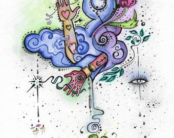 """watercolor /  pen & ink *original*  5"""" x 7""""   """"Hands Hours"""" original art  * twilightdance"""