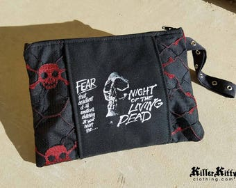 Night Of The Living Dead Horror Zombie Wristlet Pouch Clutch Makeup Cosmetic Bag Purse Skulls Goth Halloween Dawn Of The Dead George Romero
