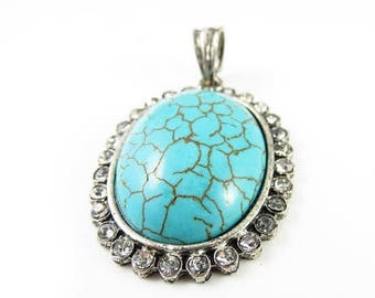 20% Off Sale 40mm x 32mm Oval Semi-Precious Turquoise With Rhinestones Pendant  - 1 Piece - LCTURQ-D05013-2106