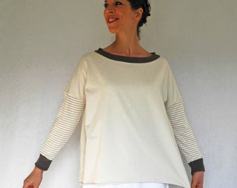 Oversized boxy top, jersey tunic top, long sleeve top, slate gray, ivory and striped jersey