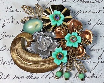Vintage Collage brooch flowers jadeite copper silver brass pin pendant assemblage upcycle Judy