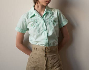 sea green asian embroidered blouse / cap sleeve floral embroidered top / chinese top / 2636t / s / B18