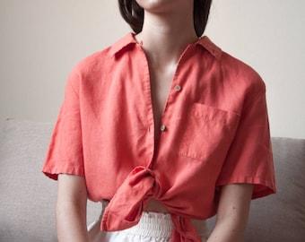 orange linen short sleeve top / linen blouse / button down top / s / 2664t / B18