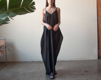 black sheer slip dress / slinky maxi dress / long spaghetti strap dress / s / m / l / xl / 2270d / B7