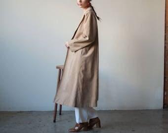 70s beige microsuede trench coat / 70s coat / s / m / 2332o / R5