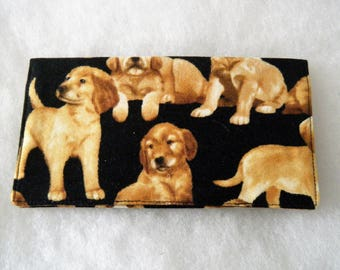 Checkbook Cover - Golden Retrievers Puppies