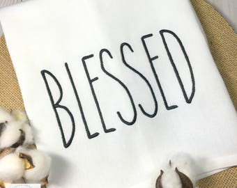 Blessed. RAE DUNN Inspired Kitchen Towel. Embroidered Dishtowel. 100% Cotton Towel. Machine Washable. Farmhouse Decor. Wedding Gift.