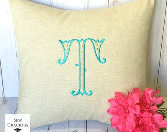 Monogram PIllow Cover to fit an 18x18 decorative throw pillow insert. Fancy font. Single Initial or 3 Letter Monogram