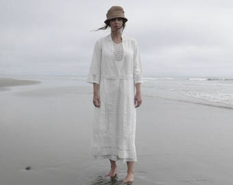 1920s Linen Dress with Handmade Lace Panels