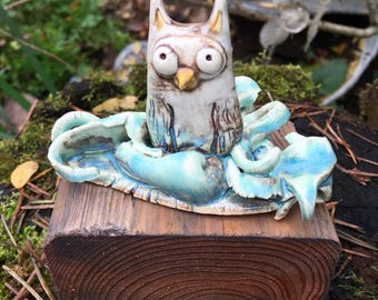 Handmade Ceramic Owl Sculpture - Recycled Wood -Spirit Animal