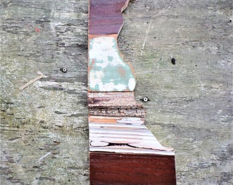 Delaware Wall Art, State Outline Art, Delaware Map, Reclaimed Wood Wall Art, Salvaged Decor, State Cutout, Aqua Decor, Wooden State Art