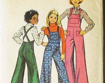 30% OFF SALE 1970s Vintage Sewing Pattern Simplicity 6125 Girls Bell-Bottom Overalls Pattern Size 12 Breast 30
