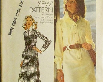30% OFF SALE 1970s Sewing Pattern Simplicity 5151 Misses Shirt-Dress Pattern Size 12 Bust 34