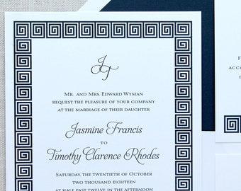 Modern Navy Wedding Invitations, Navy Border Wedding Invitations, Modern Wedding Invitations, Navy Preppy Wedding Invitations, Monogram