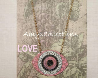 MANDALA (LOVE) EYE, Hand-painted, Delicate Solid Brass Chain Necklace (Pink)