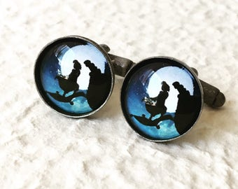 Aladdin and Jasmine Cufflinks Cuff Link Set- A Whole New World Silhouette Great for Disney Themed Wedding - Disney Gift Jewelry