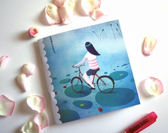 Fireflies and bicycle - Square illustrated notebook